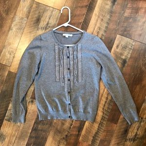 BODEN Grey Ruffle Front Cardigan Sweater